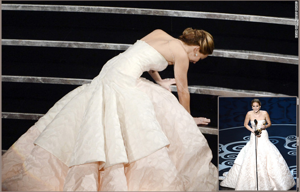 Getty jennifer lawrence trips at the 85th academy awards 174